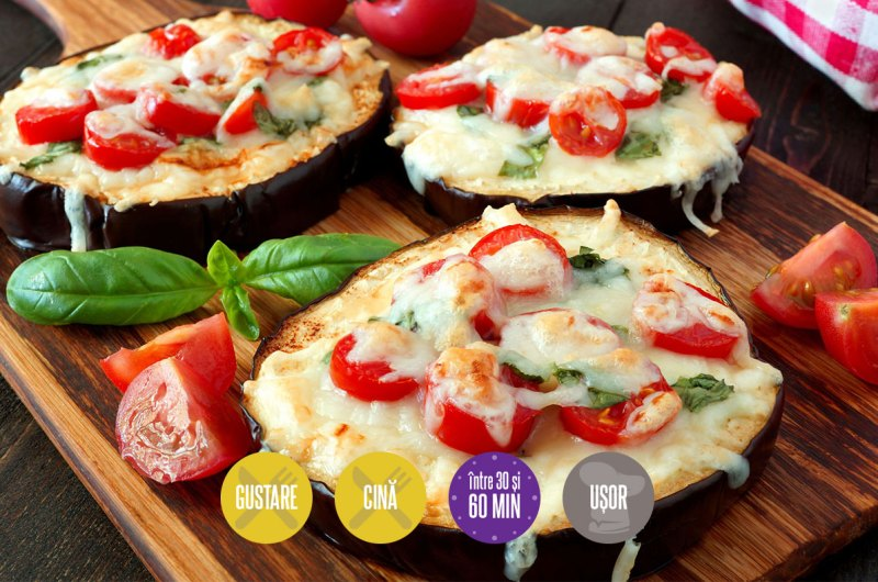 mini pizza cu blat de vinete