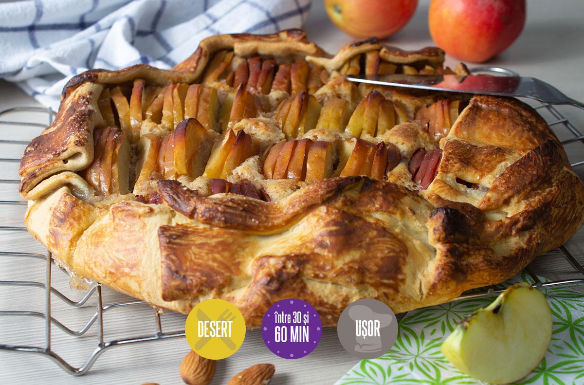 tartă rustică cu mere și cremă de migdale (sau cremă frangipane)
