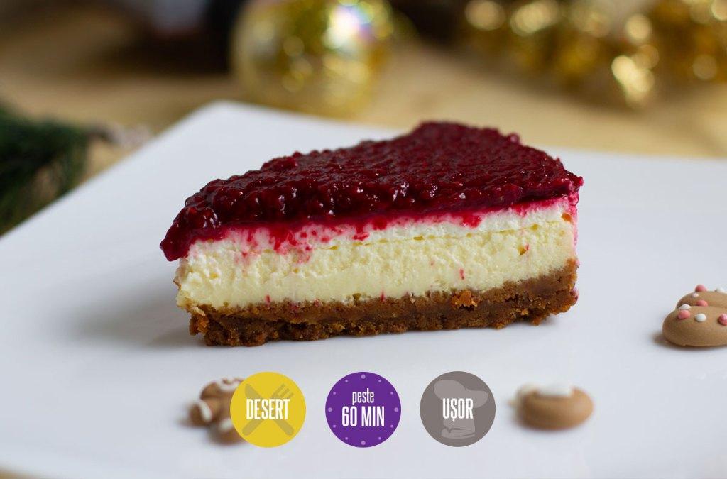 cheesecake cu glazură de zmeură