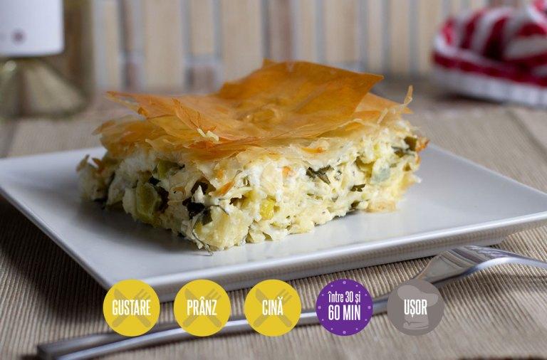 Plăcintă cu praz și brânză telemea