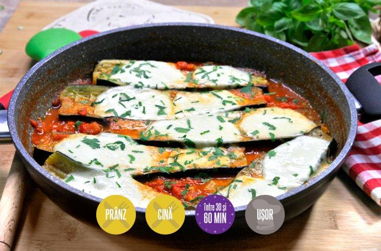 zucchini cu mozzarella în sos de roșii aromat