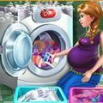 Bà bầu Anna giặt đồ