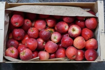 Cesta de manzanas rojas en el mercado francés de Libourne