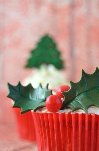 finished christmas holly cupcake