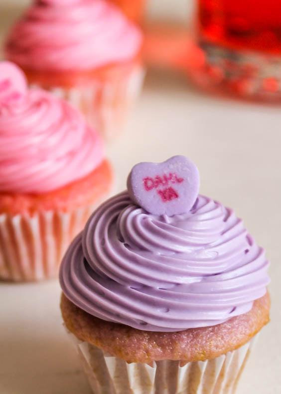Mini Conversation Heart Cupcakes