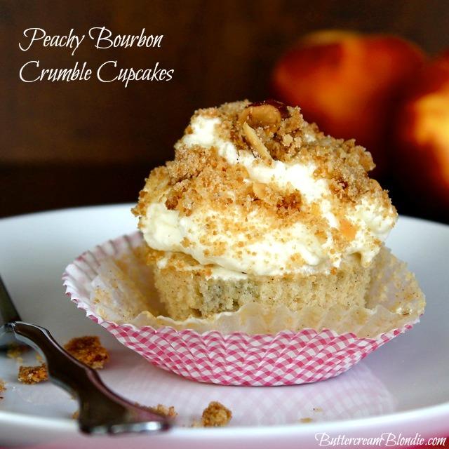 Peachy Bourbon Crumble Cupcakes