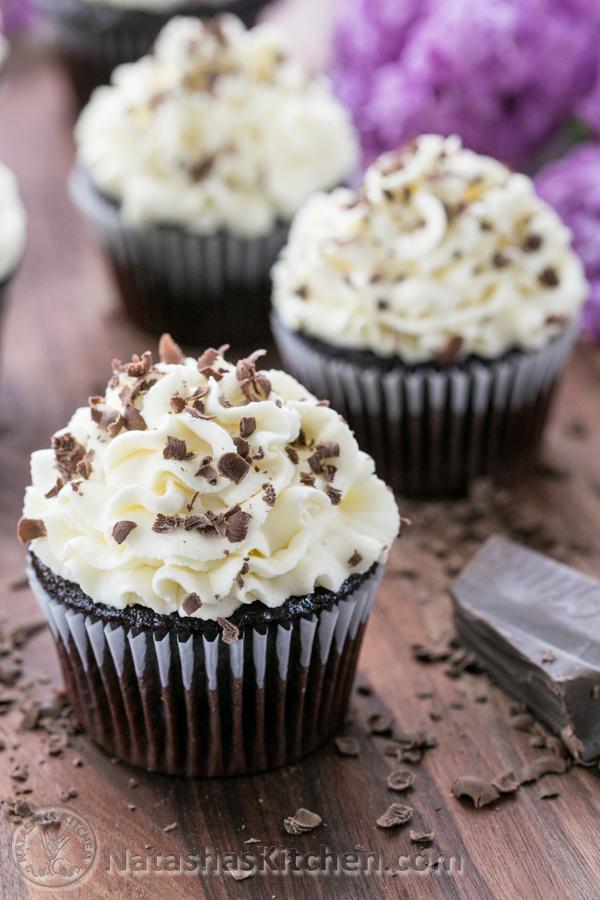 Dark Chocolate Cupcakes with White Chocolate Frosting