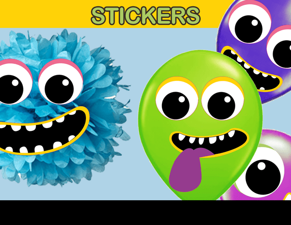 Little Monster Face Balloon Stickers INSTANT DOWNLOAD