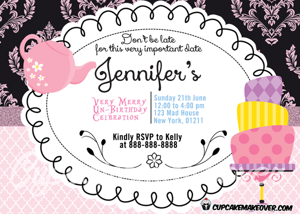Mad Hatter Tea Party Invitation Personalized