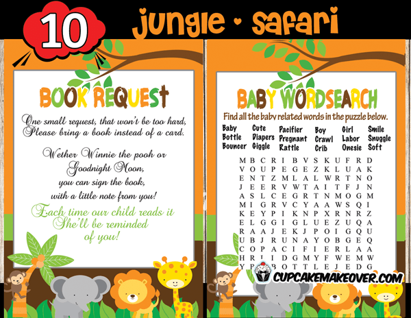 Jungle Baby Shower Game Package INSTANT DOWNLOAD