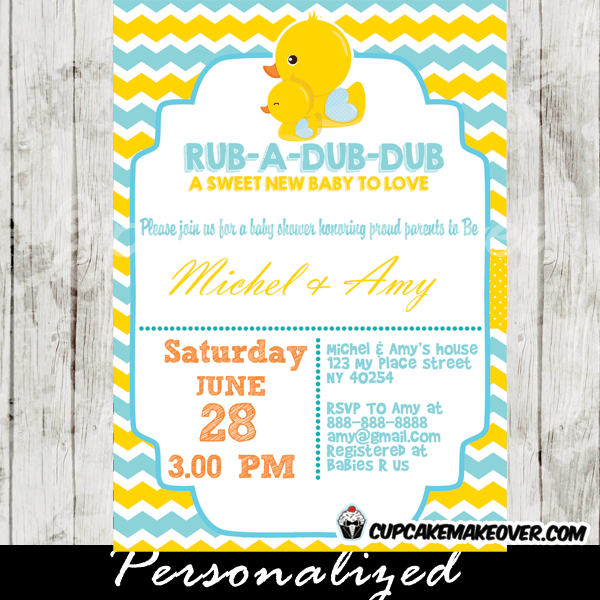 Yellow Blue Rubber Ducky Baby Shower Invitation Personalized