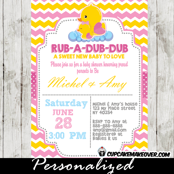 Yellow Amp Pink Rubber Ducky Baby Shower Invitation