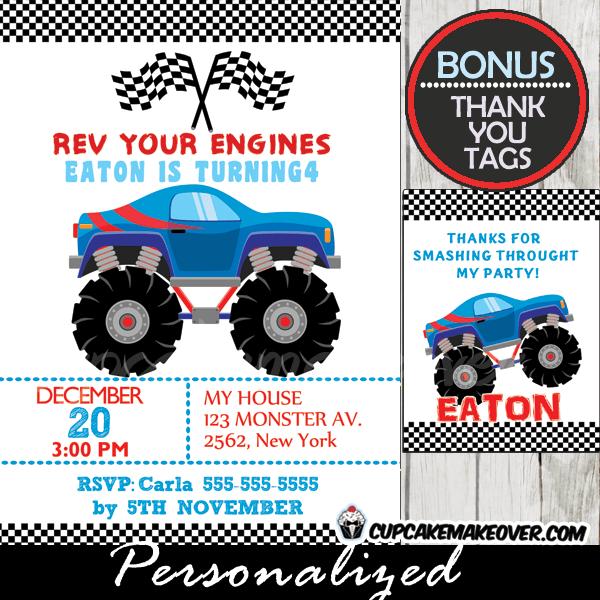 blue monster truck birthday invitation