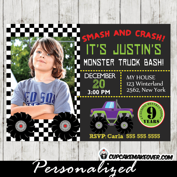 monster truck photo invitation