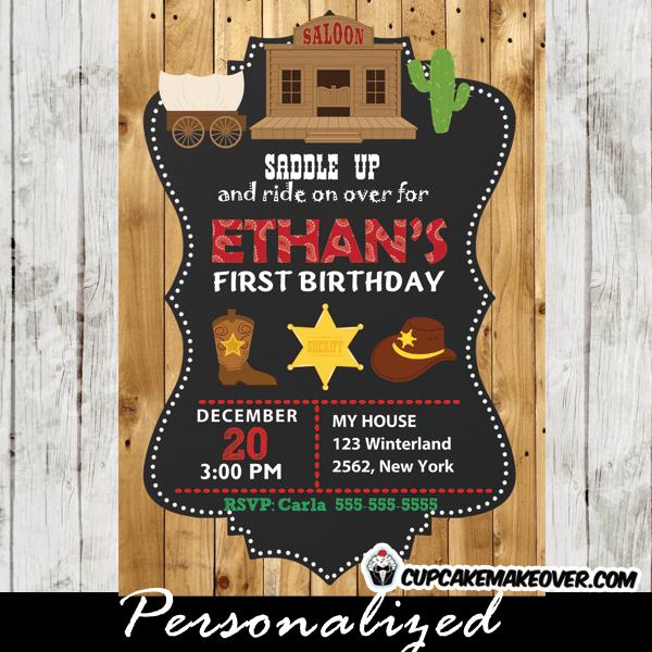 cowboy western birthday invitations