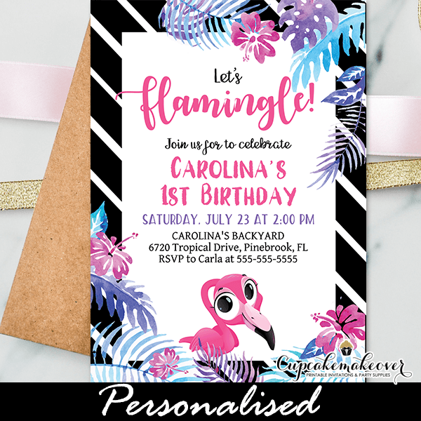 flamingo first birthday invitations