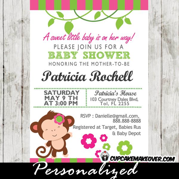 Mod Monkey Baby Shower Invitations