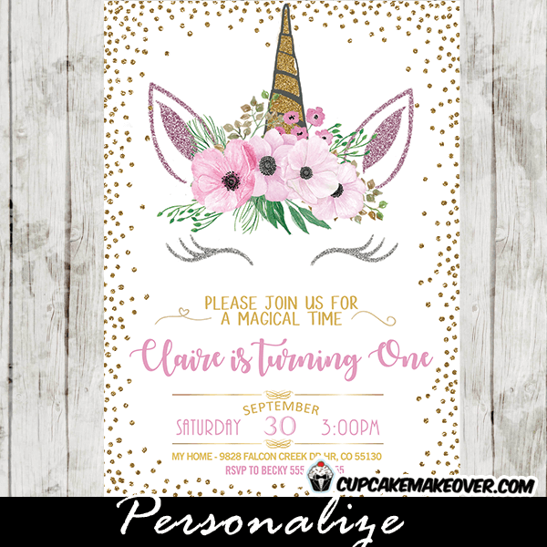 Unicorn Party Invitations Printable Pink Fl Gold
