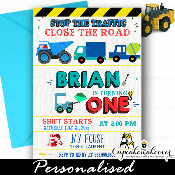 construction party invitations blue