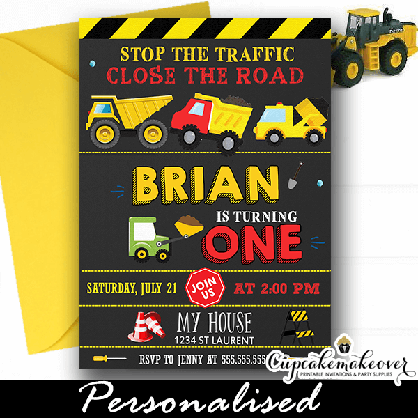 yellow dump truck party invitations