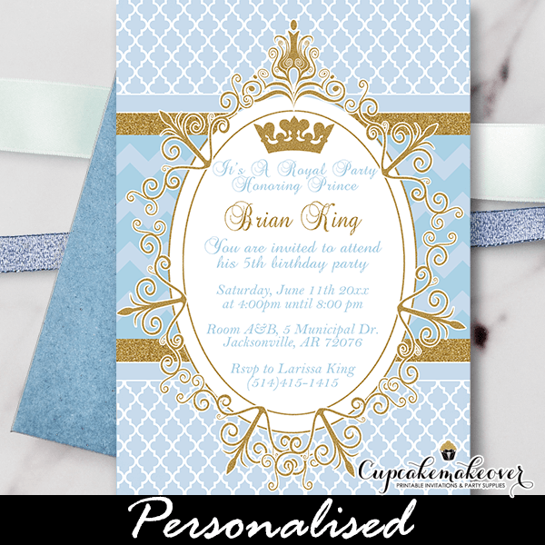 royal prince birthday invitation blue