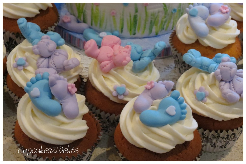Twin Teddy Baby Shower Cake Cupcakes2delite