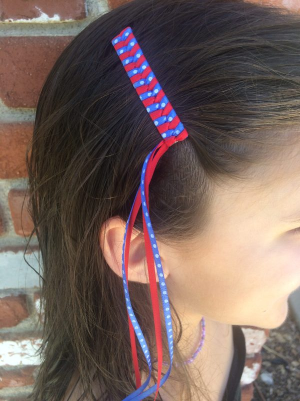 July 4th braided Streamer barrettes