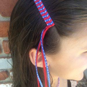 July 4th braided Streamer barrettes