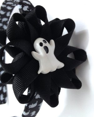 Black White Ghost Hair Bow Headband