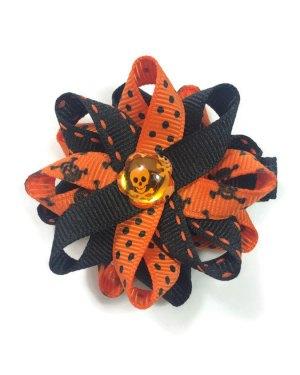 Orange Halloween Skulls Hair Bows