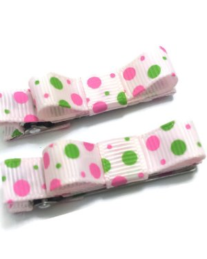 Pink Dots Tuxedo hair bows