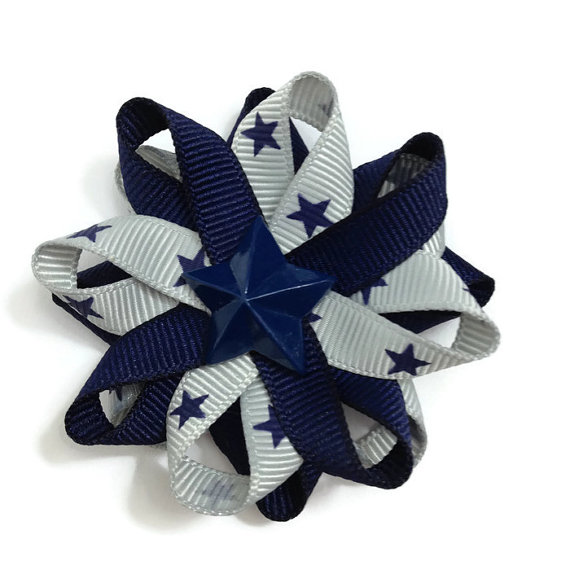 Silver Navy Stars Hair Bows