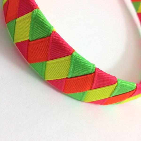 neon ribbon braided headband