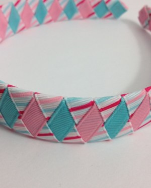 Pink & Blue Stripes Braided Headband