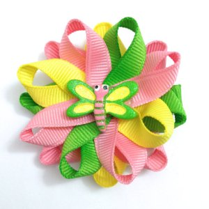 green pink yellow dragonfly hair bows