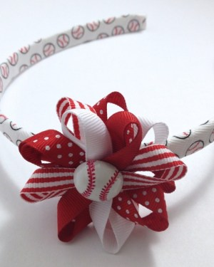 Baseball Hair Bow Headband