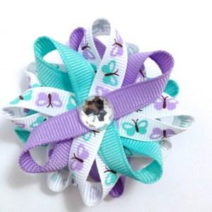 Aqua, Lavender Butterfly Hair Bow