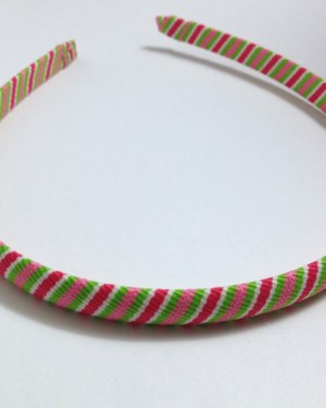 Pink, Green Stripes Headband