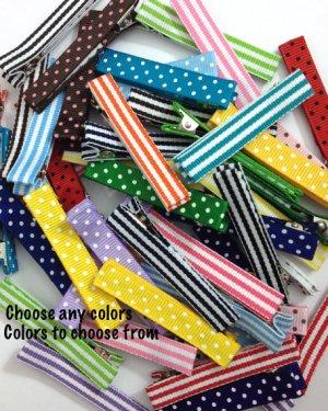 Large dots stripes Lined 57mm Alligator Clips -Dots, Stripes