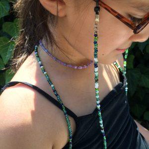 Green beaded eyeglass chain