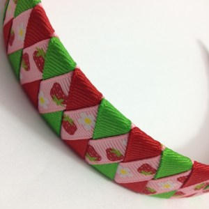 strawberry ribbon braided headband