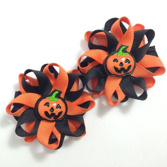 Jack O Lantern Halloween Hair Bows