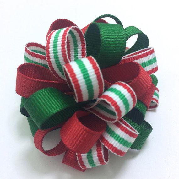 Christmas Puff Loopy Hair Bows