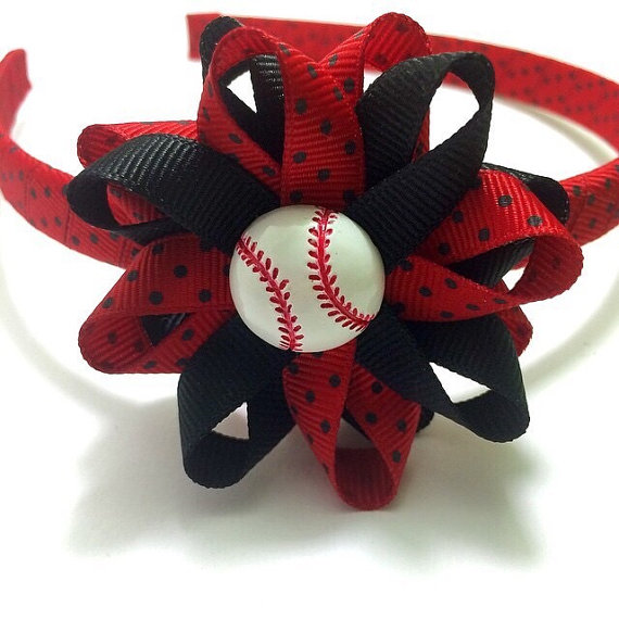 Red Black Baseball Hair Bow Headband