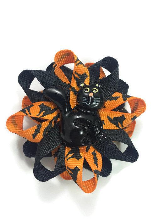 Halloween Black Cat Hair Bows