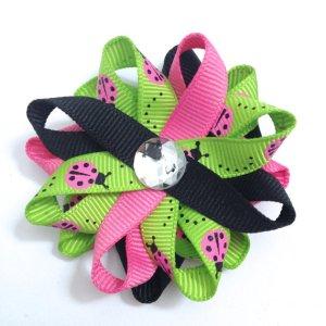 Pink Ladybug handmade Hair Bows