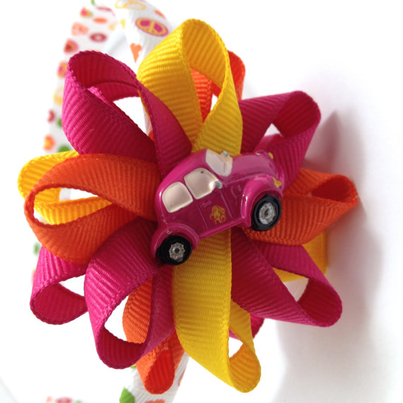 Funky Peace Sign Hair Bow Headband