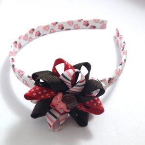 Cupcake Stripe Hair Bow Headband