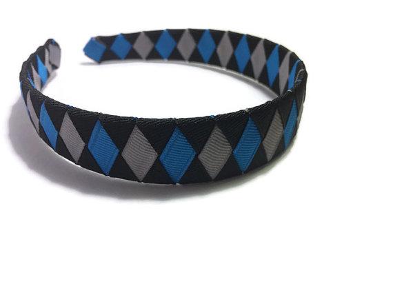 Silver, Black, Blue Woven Headband