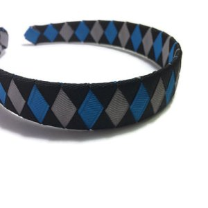 Silver, Black, Blue Woven Headband